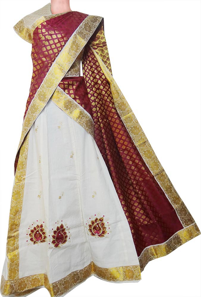 Purchase Kerala Kasavu Settu Half Saree Davani Online
