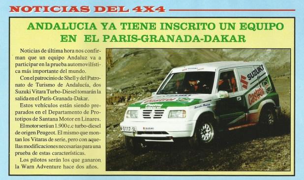 Noticia sobre la participación de un equipo andaluz en el Dakar publicada en el número 32 de la Revista Local 4x4 (Junio 97).