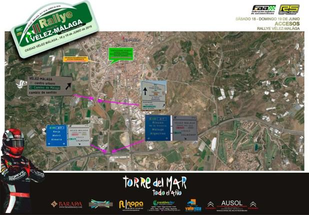 Plano de accesos Rallye Vélez Málaga 2016