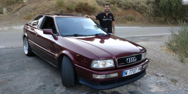 Salvador Rubén, junto al Audi Coupé Quattro con el que participará en la próxima prueba de regularidad.