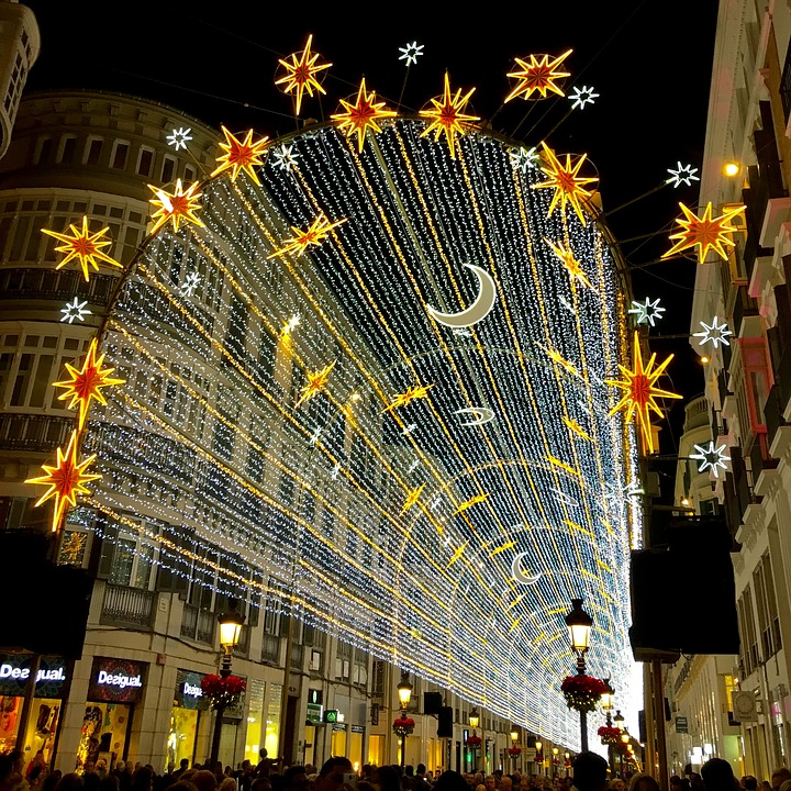 Lighting of past Christmas in Malaga