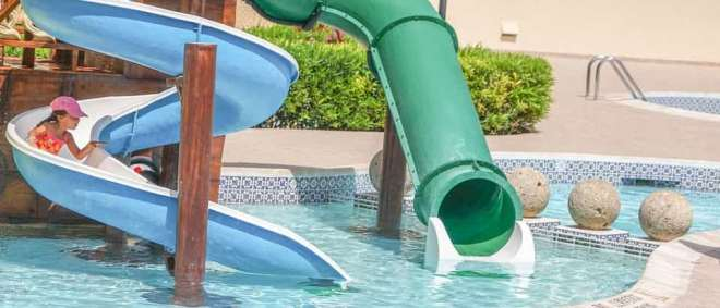 Aquatic park and slides in hotel