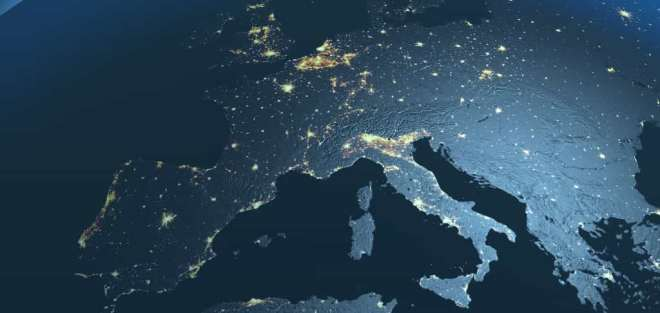 Map of Europe at night