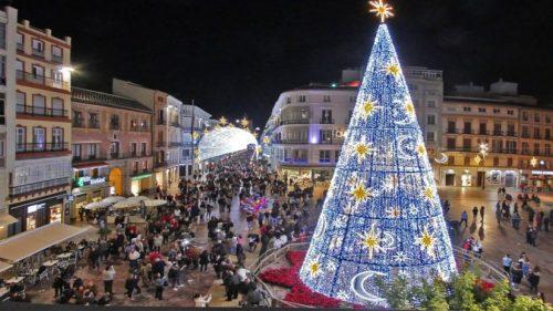 Beleuchtung und Weihnachtsbaum an der Plaza de la Constitución.