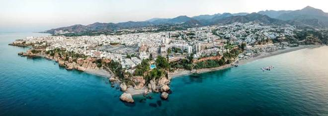 Aerial view of Nerja from the sea