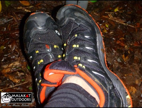 Salomon shoes taking break.