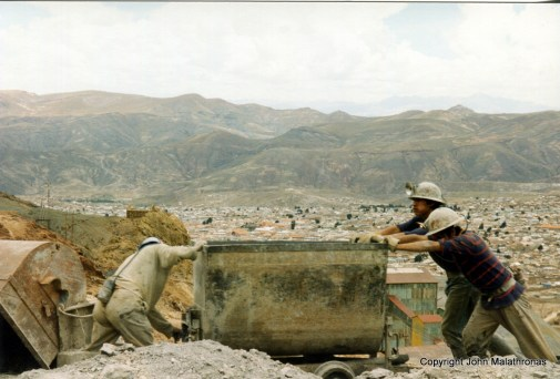 Potosi silver miners at work above the town