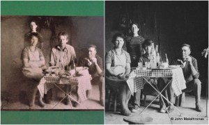 Chatwin and the Williams family. L: the family's pic R: Chatwin's own pic of the scene.