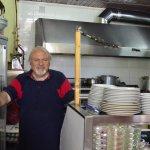 Chef Rolandos in his kitchen, Ioulida, Kea