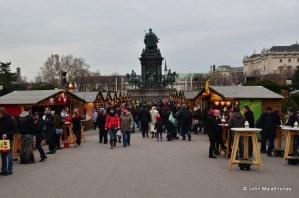 Entrance to the Christmas market Weihnachtsdorf Maria-Theresa square, Hofburg, Vienna