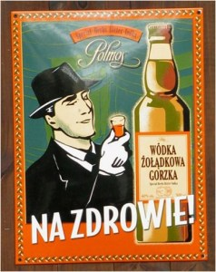 Image of a Polish Vodka poster of the Communist era