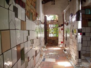 View of the central toilet corridor in Hundertwasser toilet, Kawakawa