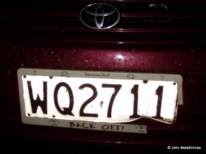 Car registration number with a warning