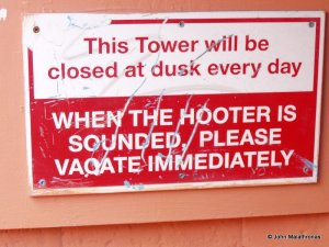 When the Hooter is sounded sign