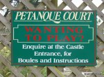 Petanque playing sign, Larnach Castle