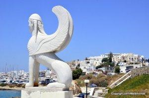 Greek Sphinx on port of Naxos, Greece