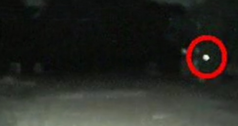The spot of a mysterious bright light captured on video.