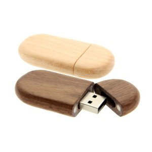 W002 Wooden Oval USB Flash Drive with Magnetic Cap