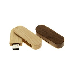 W004 Wooden Swivel USB Flash Drive