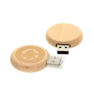 W006 Wooden Round Shape USB Flash Drive