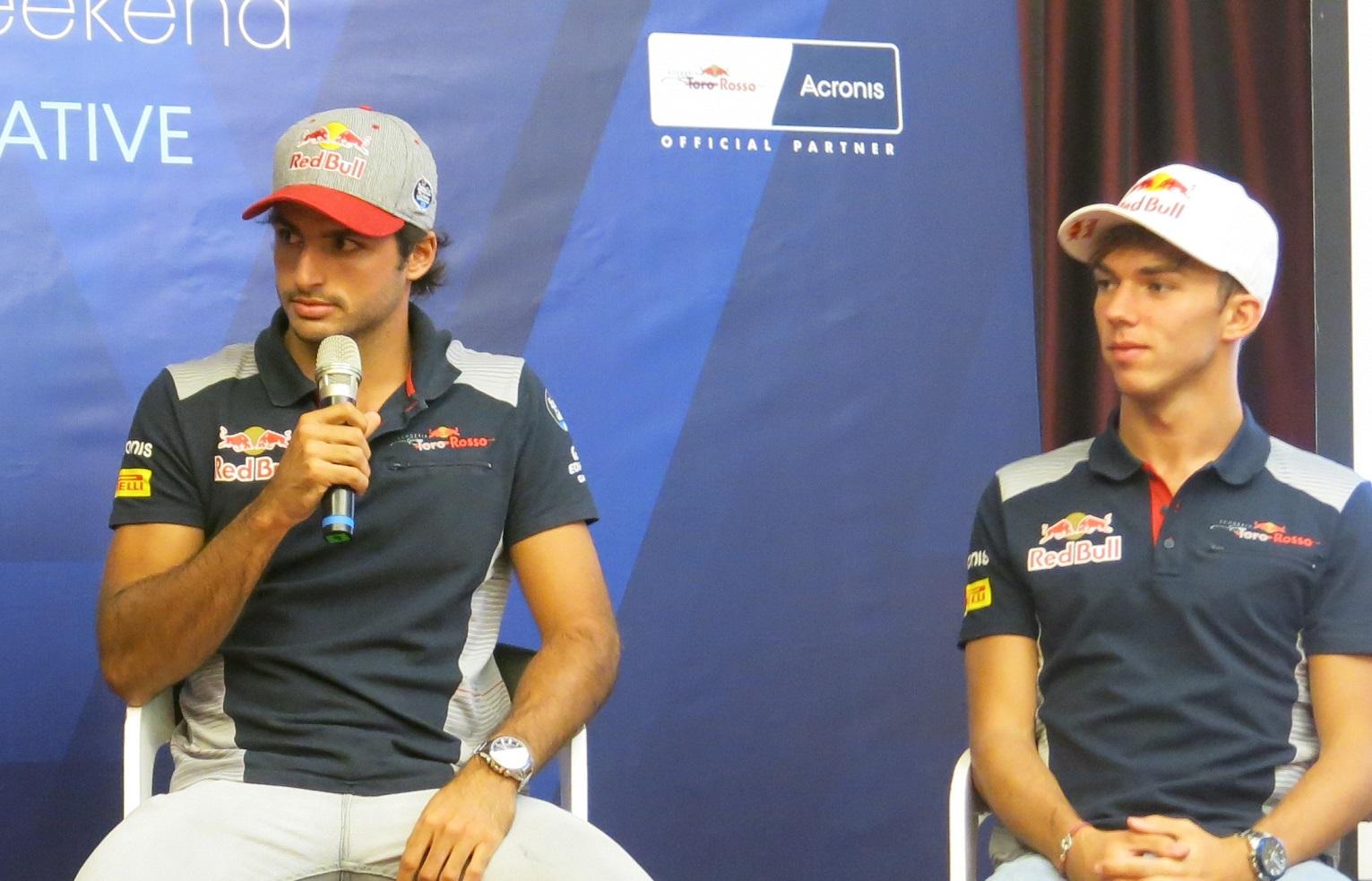 Pierre Gasly France Scuderia Toro Rosso Carlos Sainz Jr Spain Scuderia Toro Rosso