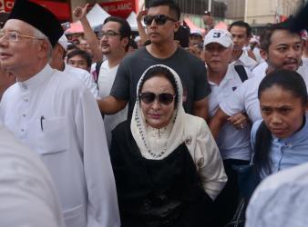 Datuk Seri Najib Razak and Datin Seri Rosmah Mansor join the anti ICERD rally walking from Masjid Jamek to Dataran Merdeka in Kuala Lumpur December 8 2018