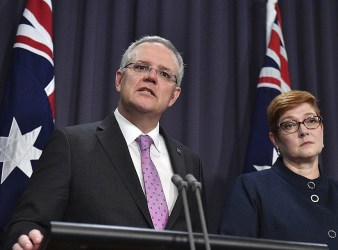 Prime Minister Scott Morrison left speaks to the media alongside Minister for Foreign Affairs times of israel