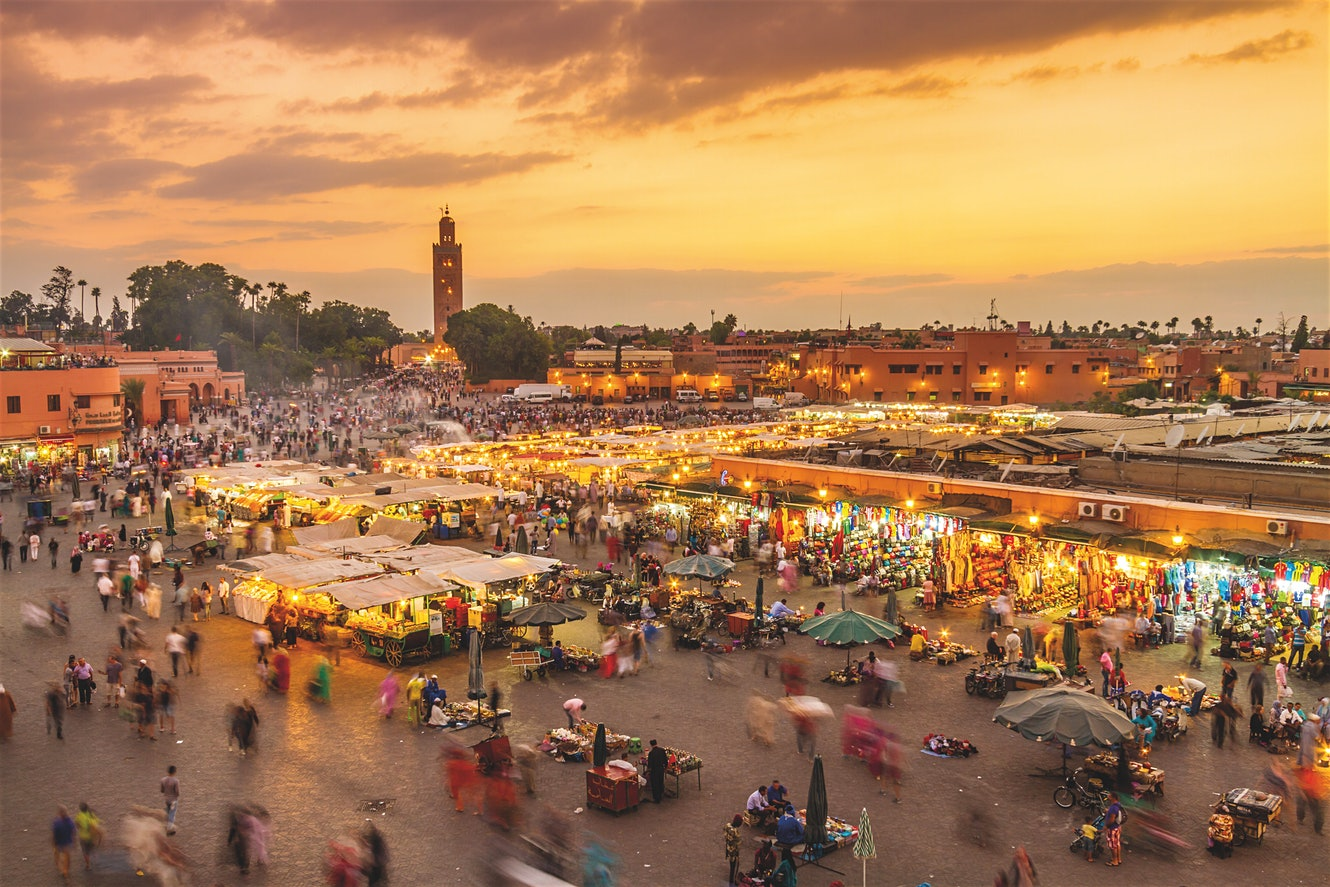 Marrakesh's Djemaa El Fna comes alive in the early evening MATEJ KASTELIC SHUTTERSTOCK
