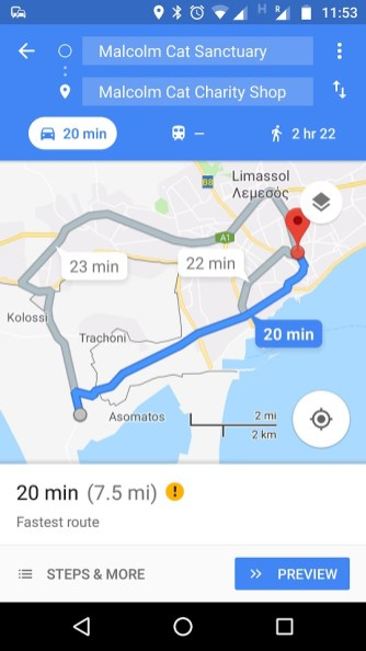 Directions to Malcolm Cat on Google Maps