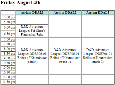A programming grid showing the Friday D&D Adventure League schedule.
