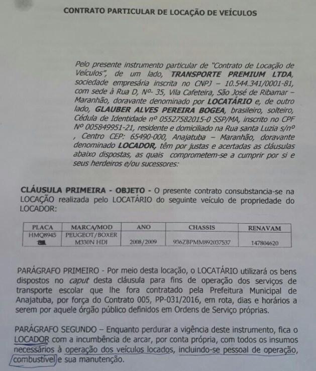 Contrato de prestação de serviços firmado entre a empresa Transporte Premium Ltda e o Sr. Glauber Alves