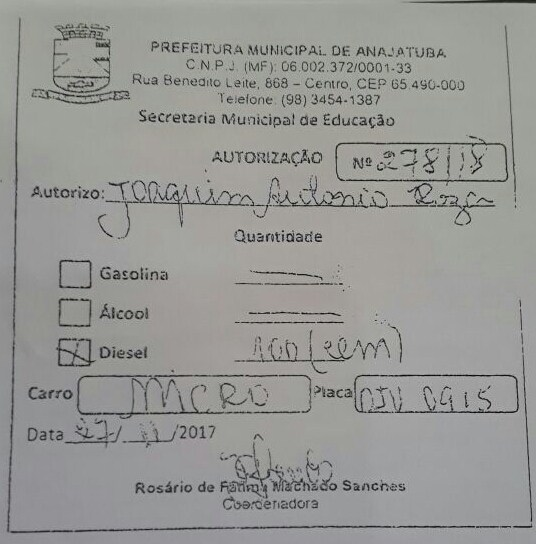 Autorização fornecida e assinada pela coordenadora da Secretaria de Educação Sra. Rosário de Fátima