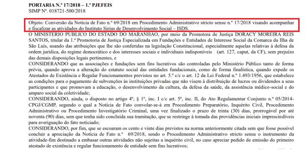 Instituto na mira do Ministério Público.