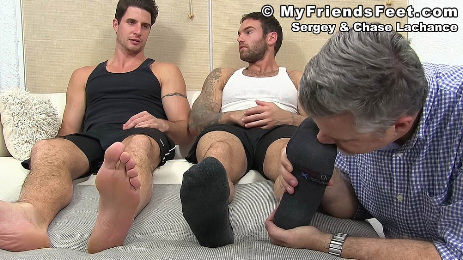 Chase Lechance's black socked feet get sniffed - My Friends' Feet