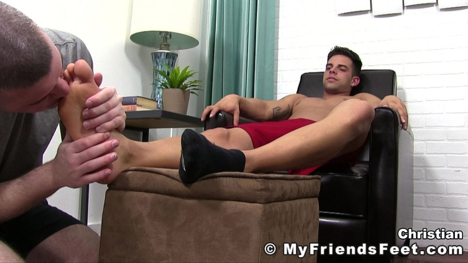 Travis licks Christian's size 11 bare feet - My Friends' Feet - male foot fetish porn