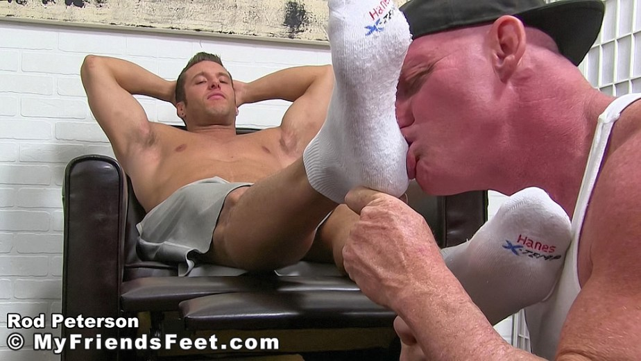 Dev kisses shirtless Rod Peterson's feet through his white Hanes size 11 socks - My Friends' Feet - gay foot porn