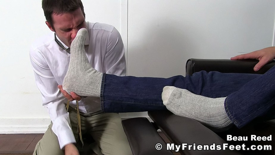 Beau Reed forces Cameron Kincade to sniff his size 13 dirty white socks - My Friends' Feet - gay foot fetish porn