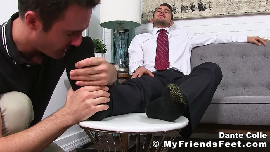 Cameron Kincade sniffs Dante Colle's size 11 black gold toe socks - My Friends' Feet - gay foot porn