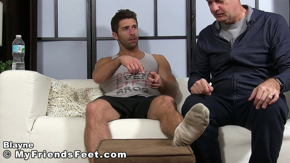 Blayne directs his client to his filthy white socks for My Friends Feet