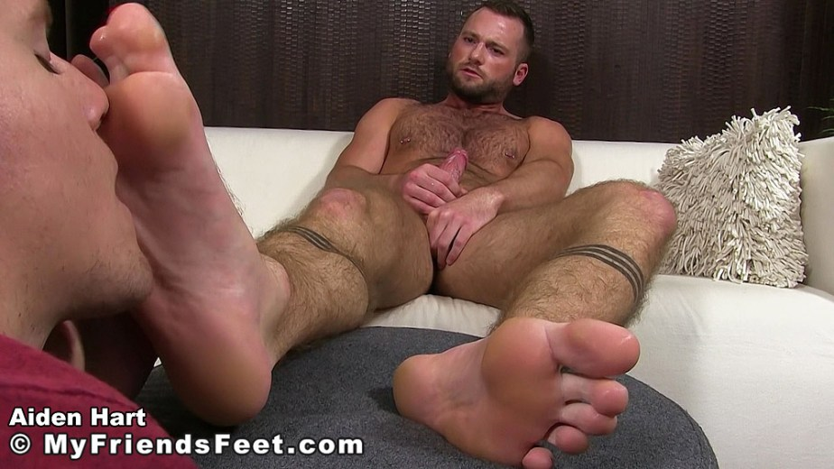 Aiden Hart cums while Nathan worships his feet for My Friends Feet