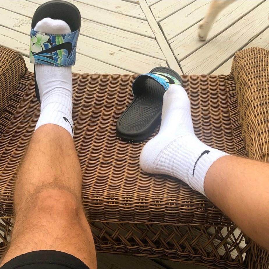White Nike crew socks in Nike slides