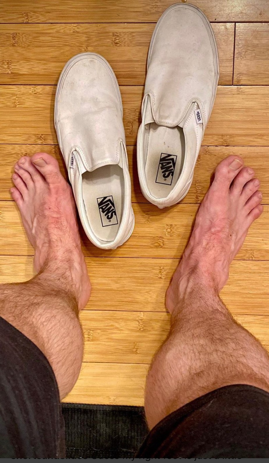 Shortsandslides' sockless size 13 feet out of Vans sneakers