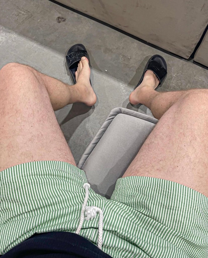 Whitefeetguy shows off his bare legs and feet in and out of slides