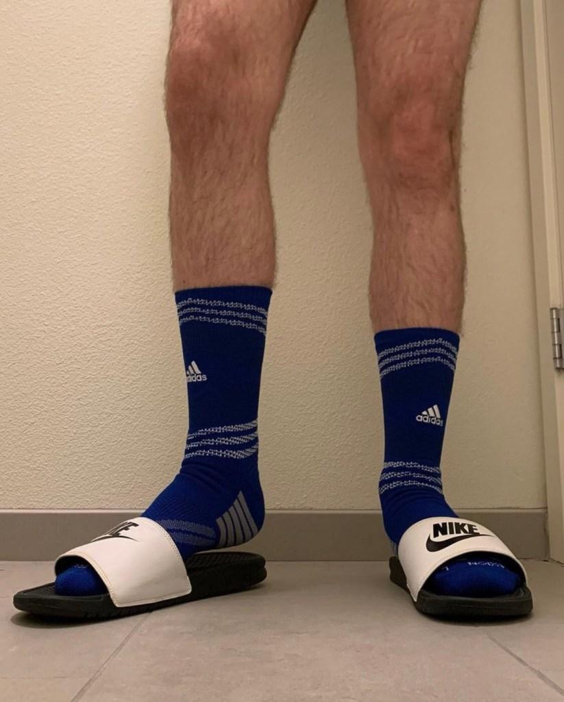 elitesocks_tights_fetish in Adidas crew socks and Nike slides
