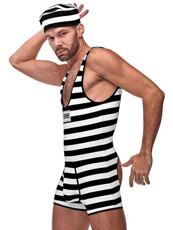 Mens sexy prisoner jail backless novelty costume