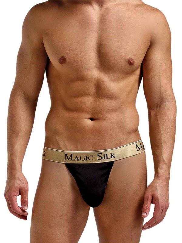 Silk Knit Micro Thong Black