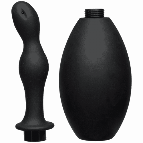 (WD) KINK FLOW FLUSH BLACK SIL ANAL DOUCHE & ACCESSORY