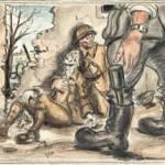 Faits prisonniers à Rambervillers (juin 1940) - Dessin A. Claus