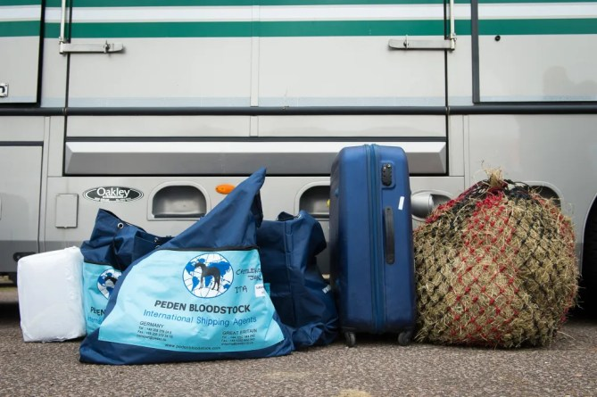A selection of horse carry on luggage bound for the Rio 2016 Olympic Games - 29 July 2016 Pic  Jon Stroud