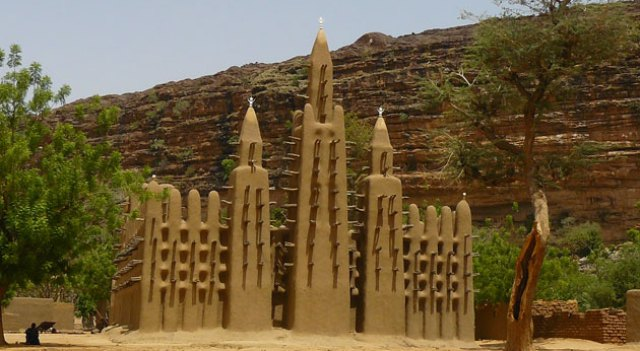 A soudanese style mosque in the heart of the Dogon Country, near Bandiagara